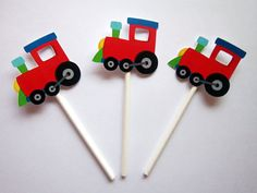 Train Cupcake Toppers, Train Birthday Party Cupcake Toppers - Red Blue Green