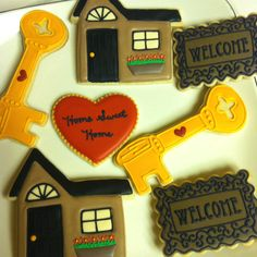 Housewarming cookies - love the welcome mat, and the house.