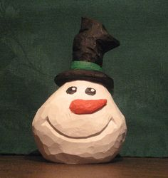 Hand Carved Handmade Happy Snowball Snowman Decoration Wood Carving