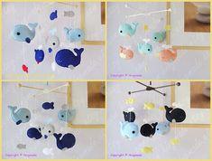 Whale Mobile Baby Mobile Nursery Crib Mobile Fish di hingmade