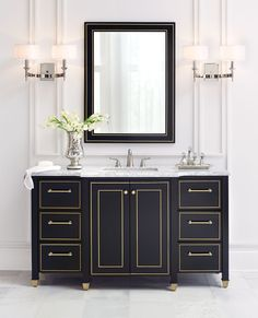 Could this single bath vanity get any more stylish? We think not. Sleek links, gold trim, detailed feet, white marble top... yeah, this is gorgeous. Not to mention functional - drawer space and doors make this one spacious single bath vanity. #organizewithhdc