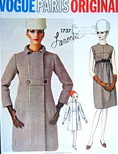 1960s Mod Laroche Dress and Coat Pattern Vogue Paris Original 1737 Empire Dress Semi Fitted Coat Fabulous Design Bust  32 Vintage Sewing Pattern