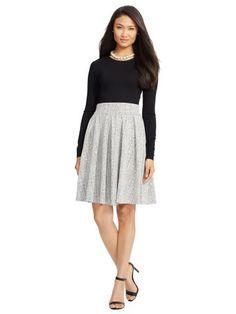Crosshatch Long-Sleeved Dress - Lauren Short Dresses - RalphLauren.com