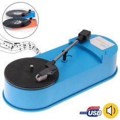 Azul USB Mini fonógrafo / giradiscos / tocadiscos de vinilo reproductor de audio, soporte de la placa giratoria convertir LP Record a función MP3