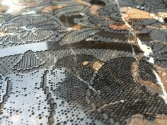 Engraved Lace on Black Gold Marble