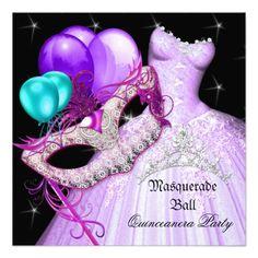Shop Masquerade Quinceanera Birthday Purple Teal Invitation created by Zizzago. Masquerade Party Invitations, Sweet 16 Masquerade, Purple Teal, Quinceanera, Invitation Design, Mardi Gras, Destiny, Announcement, Create Your Own