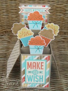 It's cupcake time with today's card in a box project. This was the first of my February class projects. I haven't used Create a Cupcake (& its matching punch) in ages & this helped me remember how muc