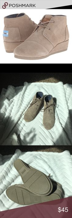 Toms Desert Wedge Toms Desert Wedge bootie. Excellent condition. Never worn. Toms Shoes Boots