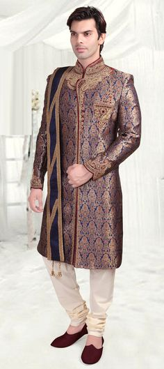 505768: Blue, Gold  color family  stitched Sherwani .