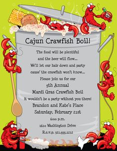 CRAWFISH BOIL PAPER -- Make an impression with our colorful designer 8 paper which is inkjet/laser compatible. You wont find premium quality paper like this at your local store. White envelopes are sold separately. Shrimp Boil Party, Crawfish Party, Shrimp Boil Foil, Cajun Crawfish, Seafood Party, Seafood Shop, Lobster Boil, Lobster Party, Louisiana Seafood