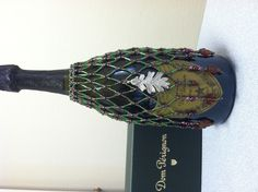 Beaded Wine Bottle Cover using autumn colors 2013.