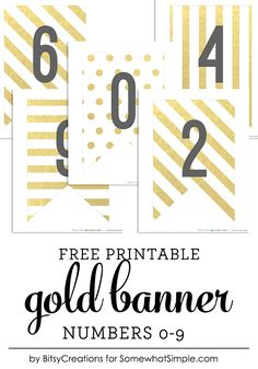You asked and we delivered! Here are your free printable gold banner numbers. Last year, I created these fun gold banner pieces. They're so great for parties of any sort. Since the set includ…