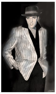 Elvis looking like a gangster!Artwork by Betty Harper..bettyharper.com
