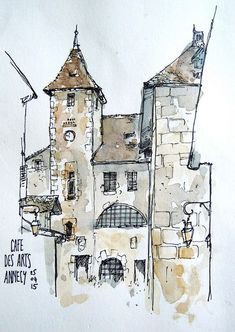 Architectural Sketches 787496684816343449 - Image Source by ambrebigeard Croquis Architecture, Architecture Drawing Plan, Architecture Drawing Sketchbooks, Watercolor Architecture, House Architecture, Architecture Diagrams, Architecture Portfolio, Classical Architecture, Pen And Watercolor