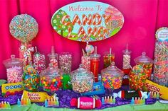 Pop Up Candy Bar - Candy Land! We need a Candy Land buffet! 16th Birthday, 1st Birthday Parties, Birthday Ideas, Candy Land Birthday Party Ideas, Birthday Candy Buffet, Rainbow Candy Buffet, Baby Birthday, Candyland, Anniversaire Candy Land