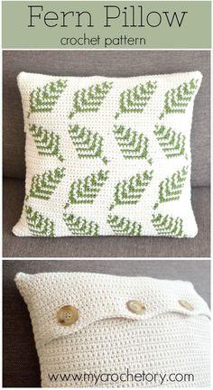 Good Photographs Crochet pillow graph Tips Make your own delightful crochet Fern Pillow with a beautiful botanical motif. In a quick way brigh Crochet Pillow Pattern, Easy Crochet Blanket, Crochet Cushions, Tapestry Crochet Patterns, Crochet Decoration, Crochet Home Decor, Crochet Projects, Knitting Projects, Knitting Patterns
