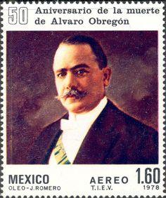 Sello: 50th Anniversary of Death of Alvaro Obregón, former Presiden (México) Mi:MX 1596,Sn:MX C573