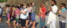 Yoga Teacher Training Student - Prayer in Bank Of ganga