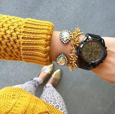 Black watch - stacked bracelets