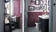 Pieni, koristeellinen kylpyhuone, jossa on lukunurkkaus ja lisäsäilytystilaa tarjoava hylly