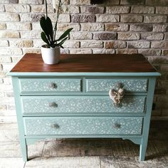chest of drawers painted in Annie Sloan mix of duck egg provence and old white