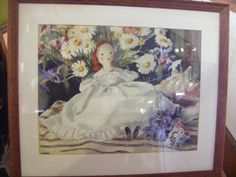 Watercolor of a Doll  in a White Dress by Telka Ackley (Beal) | #1732909813