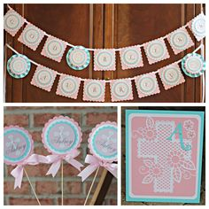 Baptism / First Communion / Religious party decorations. Boutique 3 piece party decor box. Girl / Pink / Aqua / Customizable. by CharmingTouchParties on Etsy