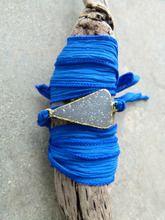 Druzy Silk Wrap Bracelet Cobalt Blue