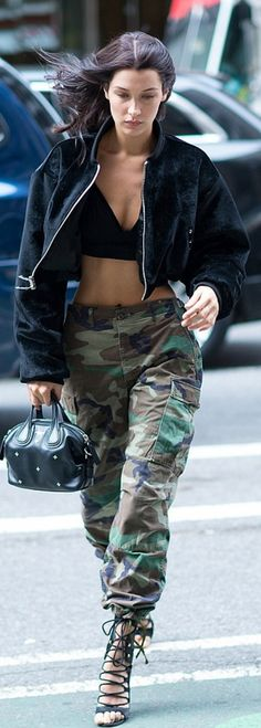 Bella Hadid in Jacket – Hardware Purse – Givenchy Pants – Alexandre Vauthier - ladies big bags, shop for bags, order bags online *ad Fashion Killa, Fashion Models, Fashion Trends, Street Chic, Street Style, Bella Hadid Style, Alexandre Vauthier, Poses, Military Fashion