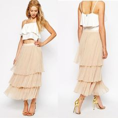 [ASOS]boho tulle layered maxi skirt This maxi skirt by Darccy (via ASOS) features all the tiered tulle. Details: fully lined, mid-rise, stretch waist, pleated design. True to size. 100% Polyester. No PayPal + No Trades. ASOS Skirts Maxi