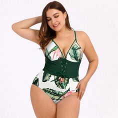The Melina might be sweet as honey but it still brings the spice. This corset style one piece creates the perfect hourglass figure to highlight all your curves. Support Type: Wireless Fit: Fits true to size Material: Polyester, Spandex Women's One Piece Swimsuits, Plus Size Swimsuits, Women Swimsuits, Curve Swimsuits, Green Swimsuit, Push Up Swimsuit, Plus Size Tights, Monokini Swimsuits, Tankini