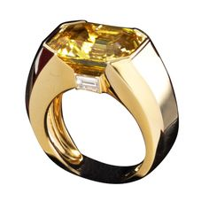 1stdibs | Cartier yellow sapphire and diamond ring