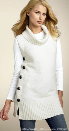 White Turtleneck cover free knit graph pattern by margery Loom Knitting, Knitting Patterns Free, Knit Patterns, Free Knitting, Baby Knitting, Free Pattern, Crochet Pattern, Knit Vest, Tunic Sweater