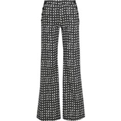 Max Mara Printed stretch-cotton twill wide-leg pants (€405) ❤ liked on Polyvore featuring pants, purple, purple pants, wide-leg trousers, lace-up pants, twill pants and wide-leg pants