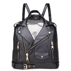 2 131,60 руб.4 цвета Привлекательный куртка PU кожа женщин рюкзаки  прохладный женские f0dbd3a9fa2