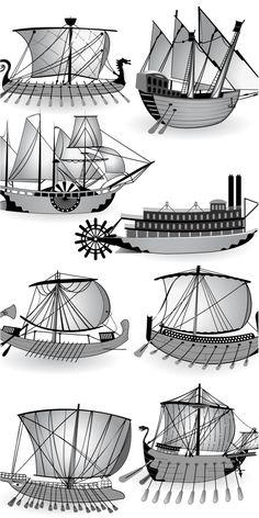 Ancient ship (Galera templates) vector