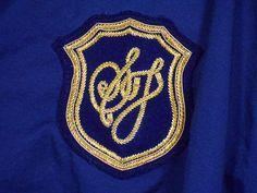 Sean John Button Down Long Sleeve Shirt Mens Size Xl Navy Blue Large SJ Crest