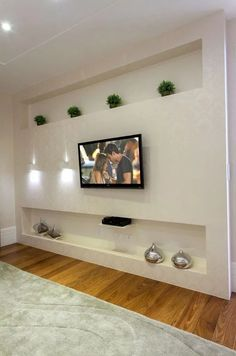 tv wall design as an office space accessory or as an ornament of a farmhouse living rooom design for your modern farmhouse style part 1 # farmhousedecor Living Room Tv, Living Room Furniture, Tv Wanddekor, Plafond Design, Tv Wall Decor, Rustic Floating Shelves, Tv Wall Design, Modern Farmhouse Style, Wall Mounted Tv
