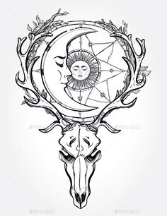 Scull With Sleeping Moon Line Art. - Tattoos Vectors