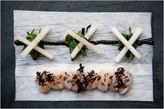 Palm heart, sea scallops, pear seaweeds and citronella from Alex Atala's D.O.M in Sao Paulo, Brazil.