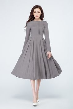 gray pleated dress long sleeves dress gray linen dress spring dress party dress pleated dress A line dress custom made dress Women's Dresses, Linen Dresses, Spring Dresses, Evening Dresses, Fashion Dresses, Formal Dresses, Long Sleeve Midi Dress, Dress Long, Asymmetrical Dress