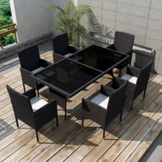 Rattan Dining Table and Chairs Set Outdoor Patio Wicker Bistro Furniture Square Rattan Garden Furniture Sets, Dining Furniture Sets, Dining Table Chairs, Outdoor Furniture Sets, Patio Dining, Room Chairs, Lawn Furniture, Office Chairs, Furniture Design