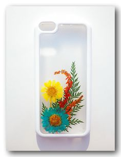 Handmade iPhone 5C case, Resin with Dried Flowers, Pressed flower art on Etsy, $19.00