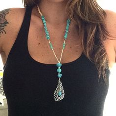 New Turquoise Feather seamless Necklace available for sale In the shop.  www.etsy.com/shop/sendingoutlove