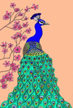 Peach Peacock Art Print A4 by Rebekahleigh on Etsy, £17.00  - COLOUR