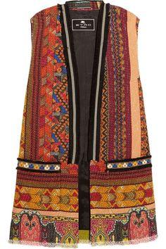Shop for Embellished Embroidered Cotton-blend Tweed Gilet - Brown by Etro at ShopStyle. Red Waistcoat, Tweed Vest, Denim Vests, Denim Fashion, Boho Fashion, Fashion 2017, Dress Design Sketches, Chic Outfits, Brown Vest