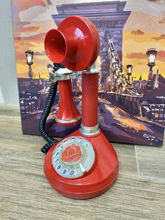 Vintage red rotary phone, Old phone, Dial phone, Stylish phone, Soviet desk phone, Rotary phone, Soviet phone, Retro phone, Cool home phone Retro Phone, Vintage Phones, Home Phone, Electronic Items, Russian Folk, Cutlery Set, Office Decor, Desk