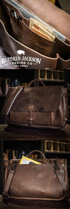 Men's vintage full-grain dark brown leather postal messenger mail bag. Handcrafted to handle whatever you throw at it - work, travel, or adventure. Will fit up to 17-inch laptops. Adjustable shoulder strap for wearing cross body and casual. You want fashion? Louis Vuitton, Michael Kors, & Hermes (or Coach or Gucci or Prada…), ain't got nothin on us. Rugged craftsmanship for the win. Waxed canvas version also available.