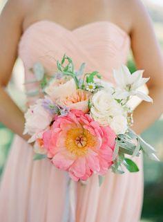 Pink, peach and white wedding bouquet www.vintageandlace.com