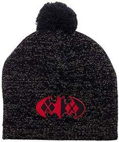 439fa79322c Harley Quinn Batman Logo Metallic Lurex Pom Beanie Winter Hat